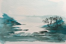 Olive Grove above the Rocks - painting Paxos watercolours