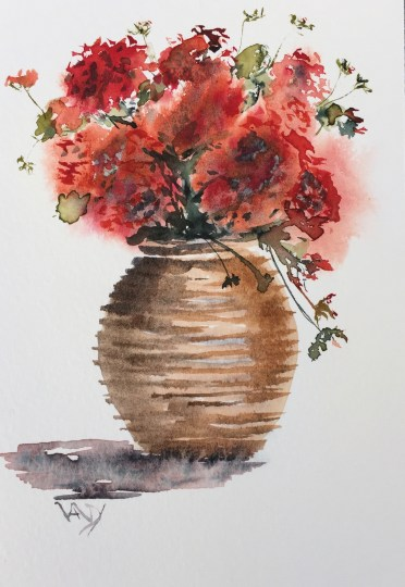 Pelargonium urn - painting Paxos watercolours