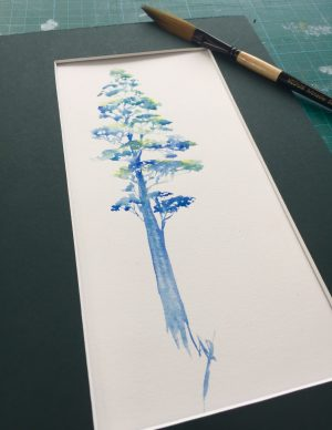 August Tree watercolour giveaway matted
