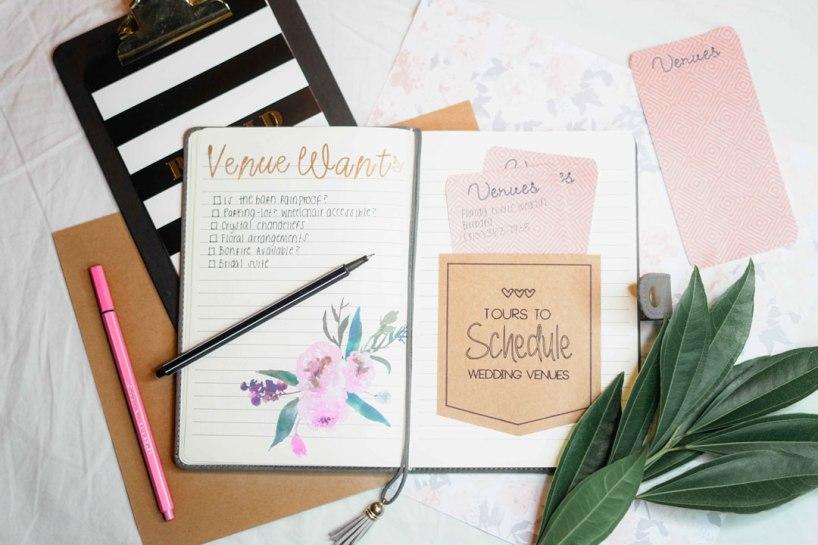 Escribir las ideas sobre la boda
