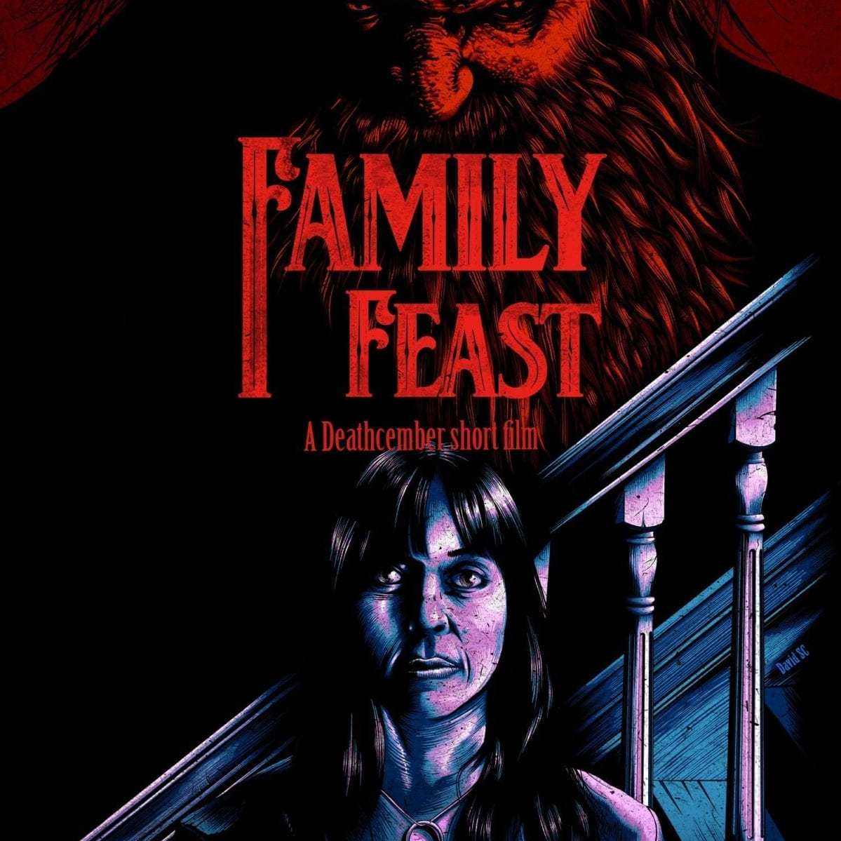 Family Feat poster Christmas horror stories, Deathcember premieres January 2020
