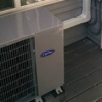 Slim AC Condenser Unit on Patio with Aesthetic Line-Set Covering on Wall