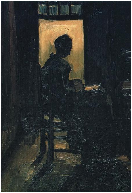 Peasant Woman Seated Before An Open Door Peeling Potatoes