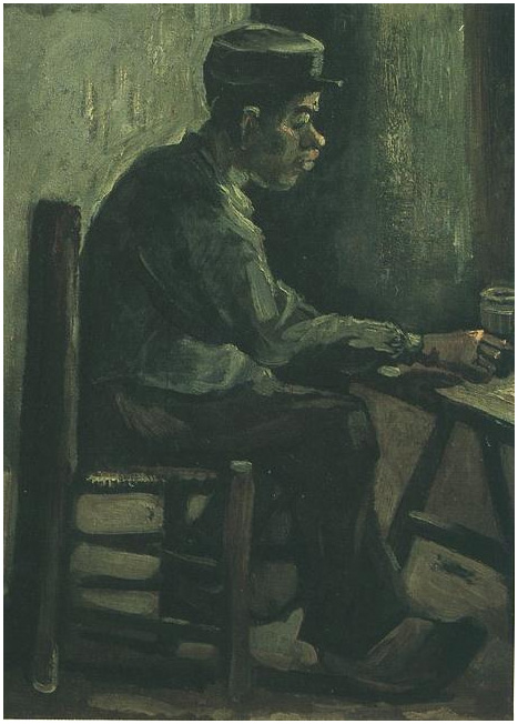 Peasant Sitting At A Table By Vincent Van Gogh 398