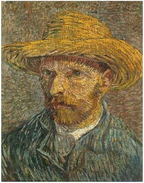 Self Portrait With Straw Hat Vincent Van Gogh 2110