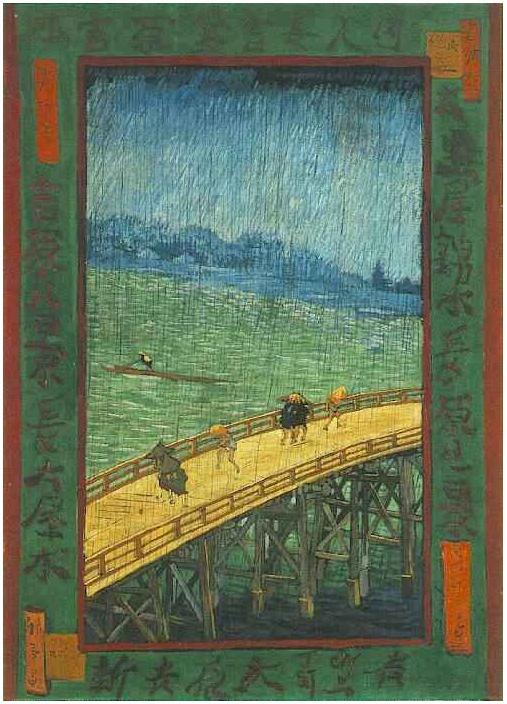 Japonaiserie Bridge In The Rain After Hiroshige By Van