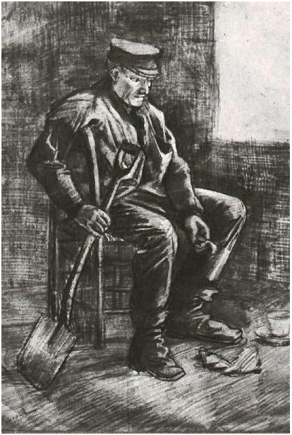 Workman With Spade Sitting Near The Window By Vincent Van