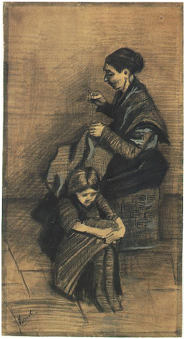 Sien Sitting On A Basket With A Girl By Vincent Van Gogh
