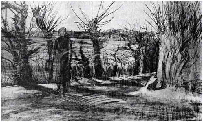 Woman On A Road With Pollard Willows By Vincent Van Gogh