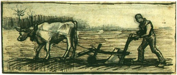 Ploughman By Vincent Van Gogh 1392 Drawing Pen
