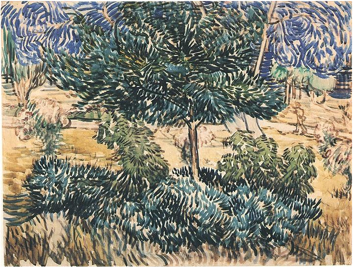 Trees And Shrubs By Vincent Van Gogh 1892 Watercolor