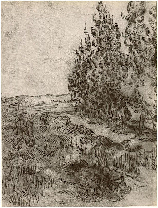 Cypresses With Four People Working In The Field By Vincent