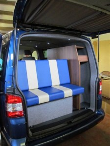 VW T5 Trendline Conversion with 3/4 rock n roll bed and Tobacco Aida walnut furniture