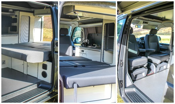 VW T5 Campervan Conversion has Installed Swivel front seats, SCA pop top roof fitted with bed system and installed furniture with Webasto Top loading fridge, CAN Hob and RIB bed