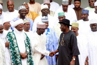 File Photo: President Jonathan shaking hands with northern leaders