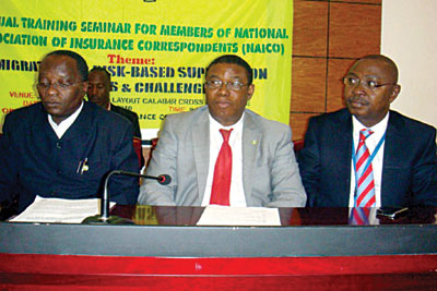 L- Mr Fola Daniel, Commissioner for Insurance, Mr George Onekhena, Deputy Insurance Commissioner and Mr Olusola Ladipo-Ajayi, Chairman of Nigerian Insurers Association at the training programme for Insurance journalists by NAICOM in Calabar recently