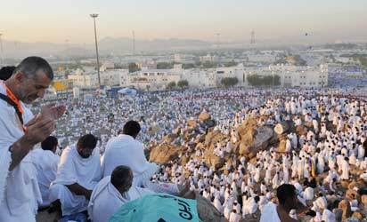 File photo: Muslim pilgrims gather to pray at Mount Arafat near the holy city of Mecca during the annual pilgrimage. AFP PHOTO/FAYEZ