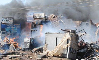 BLAST—Scenes of the Kaduna explosion yesterday. Photos: Olu Ajayi