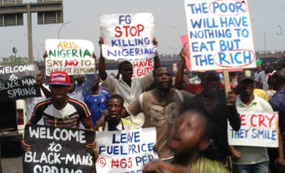 Protester at Ojota Area in Lagos , during the occupy Nigeria Protest  over the Subsidy Removal by Federal Govt, on Wednesday  11-1-2012, PHOTO; Kehinde Gbadamosi