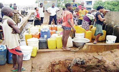 File photo: Lagos residents at a public water supply point