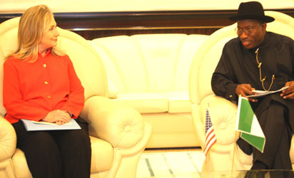 File photo: President Goodluck Jonathan with US Secretary of State, Mrs. Hilaryclinton During the Visit.