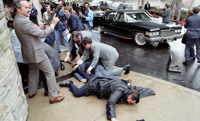 A scene from the Reagan assassination attempt