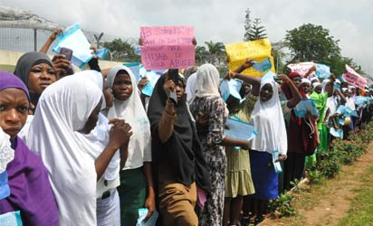 Members of Muslim Students Society of Nigeria, Lagos State Area Unit, protest victimisation of secondary school students using Hijab by principals at Lagos House, Alausa, Ikeja, yesterday. Photo: Bunmi Azeez.