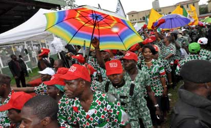 A Cross section of Workers Match Pasts, during the 2013 Workers Day Commemoration by The Lagos state Council of Nigeria Labour Congress and Trade Union Congress of Nigeria, Theme: 100 Year of Nationhood, The Challenges of National Development, held at Onikan Stadium, Lagos. Photo: Bunmi Azeez