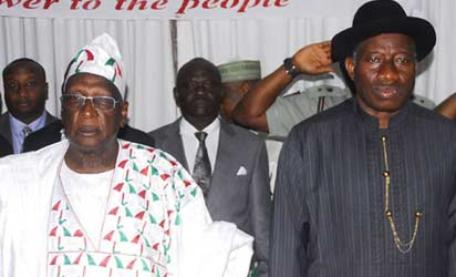 From Right, President Goodluck Jonathan and PDP National Chairman Bamanga Tukur at 61th National Executive Committee of PDP held in Abuja. Photo by Gbemiga Olamikan.