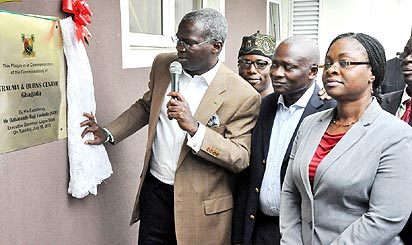 *From left, Lagos State governor, Mr. Babatunde Fasholas, SAN; Commissioner for Health, Dr. Jide Idris, and the Special Adviser to the Governor on Public Health, Dr. Yewande Adesina, during the commissioning of  the Trauma and Burns Centre, at Gbagada General Hospital, Gbagada, yesterday. Photo By Bunmi Azeez