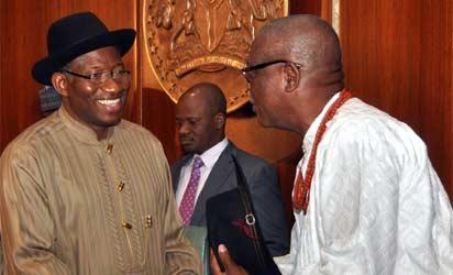 President Goodluck Jonathan, and Maj.-Gen. Patrick Aziza (Rtd) President  General, Urhobo Progressive Union (UPU), During a meeting  at the Presidential Villa In Abuja On Monday