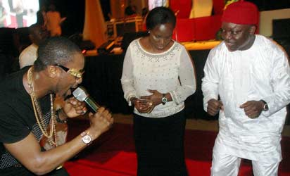 CONFERENCE:  Governor Emmanuel Uduaghan of Delta State (right) his wife Deaconess Roli Uduaghan (middle ) and D Banj dancing along side with other editors during the Gala-Night put together by the Delta Sate Government marking the end  of 9th Nigerian Guild of Editors Conference held at the Event Centre, Asaba, Saturday.  Photo: Henry Unin