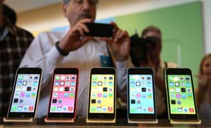 The new iPhone 5C is displayed during an Apple product announcement at the Apple campus on September 10, 2013 in Cupertino, California.