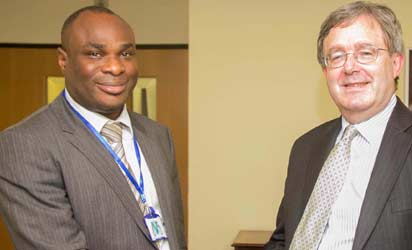Hon. Joel-Onowakpo Thomas, Executive Chairman, Delta State Board of Internal Revenue, DBIR, in a handshake with Peter Carter, British Deputy High Commissioner during the former visit to the British High Commissioner in Lagos