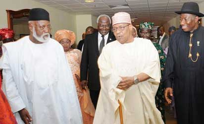 From left: Former Heads of State, Gen. Abdulsalami Abubakar; Gen. Ibrahim Babangida and President Goodluck Jonathan, at the Centenary Dinner and Awards in Abuja on Friday (28/2/14).