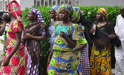 CHIBOK GIRLS—Schoolgirls who have escaped from Boko Haram kidnappers in the village of Chibok, arrive at the Government House to speak with Governor Kashim Shettima in Maiduguri, yesterday. Shettima met with 28 schoolgirls that escaped from the abductors, their parents and parents of more than 200 missing girls to seek ways of assisting them. Photo: AFP.