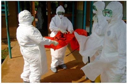 Medics in full gear to avoid contracting the virus