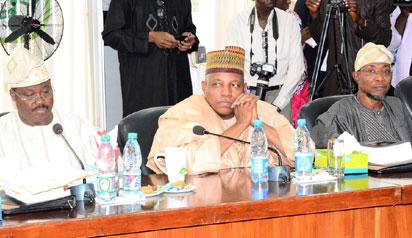 APC GOVS —From left: Governors Abiola Ajimobi, Oyo, Ibrahim Shettima, Borno; and Rauf Aregbesola, Osun; during the All Progressives Congress (APC) Governors' Forum in Kwara State Government House, Ilorin, yesterday.