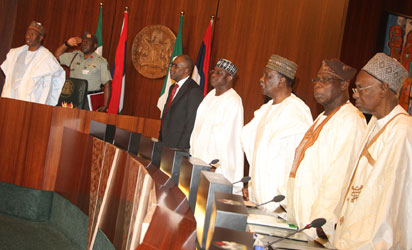 NATIONAL COUNCIL OF STATE—From left: Former President Shehu Shagari, former President Olusegun Obasanjo; former Head of State, Yakubu Gowon; Senate President, David Mark; Justice Minister, Mohammed Bello and President Goodluck Jonathan during the opening of the National Council of State meeting at Aso Chambers, State House, Abuja, yesterday. Photo: Abayomi Adeshida.