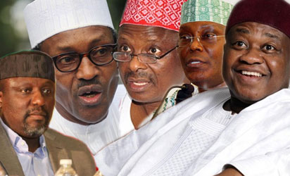 Rochas Okorocha,  Muhammadu Buhari, Rabiu Kwankwaso, Atiku Abubakar and Sam Nda- Isaiah.