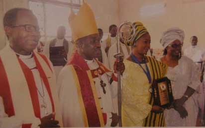 From left, Archbishop of Lagos, Most Rev. Ephraim Ademowo; Lord Bishop of Ijebu South-West Diocese, Rt. Rev. Babatunde Ogunbawo; Dr. Olufunke Amosun, Ogun State governor's wife; and Mrs. Olatundun Ogunbawo, Ijebu South-West Diocese bishop's wife.