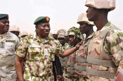 Jonathan has been seen in combat fatigues congratulating troops after the recapture of Baga