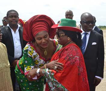 rally: Anambra State Governor's wife, Chief Ebelechukwu  Obiano, welcoming the First Lady of Nigeria, Dame Patience Jonathan, on arrival for the women rally, in Onitsha, yesterday.