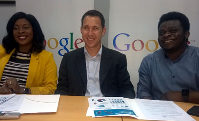 From left: Juliet Ehimuan-Chiazor (Google Nigeria Country Manager), Gur Biron (Google Sub Saharan Africa Lead), Taiwo Kola-Ogunlade (Communications & Public Affairs Manager Google West Africa) yesterday in Lagos during the release of Google's consumer Barometer on the use of internet tools. Photo by Emeka Aginam
