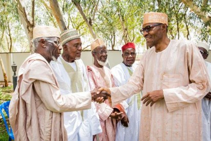 Buhari received some of his old classmates; the 1953 intakes of Katsina Middle School.