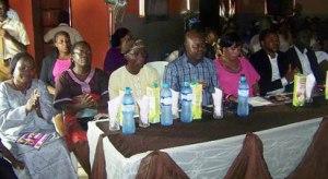 CT CHALLENGE: Dr Daniel Apori, Chairman, Nana Apori Schools (4th left); Evang Vida Apori proprietress (5th left); Mr Ebun Arowosegbe P.T.A Chairman, (3rd left); Mrs Tinuola Alabi (Parent) (1st left) Mrs Onayemi Adenike P. T.A Welfare Officer, (2nd left); Mr Olabode Olawole (2nd Right) and Mr Yemi Olaifa, MD Edge Varsity (1st Right) at the Nana Apori ICT Challenge Season Two held at Adiyan, Ogun State.