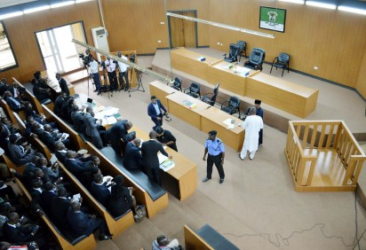 THE EMPTY DOCK AS THE SENATE PRESIDENT BUKOLA SARAKI WAS  ABSENT AT THE CODE OF CONDUCT TRIBUNAL WHERE IS STANDING TRIAL FOR PERJURY IN ABUJA ON MONDAY (21/9/15)