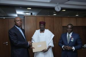 The ministerial list handed-over to the Senate President, Bukola Saraki (Left) by the Chief of Staff, Abba Kyari (Middle), as Special Adviser to the President on National Assembly Matters (Senate), Ita Enang looks on. Wednesday, 30/9/2015