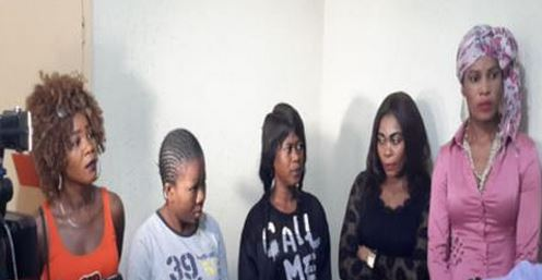 From left—Blessing Gabriel, 25; Precious Owoh, 29; Rose Gabriel, 25; Priscilla Bassey, 33; and Terry Smooth, 38.