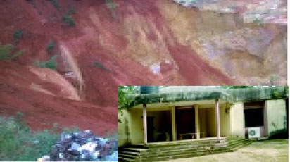 The gully erosion  at the back of the family home (inset)belonging to Chief Alex Ekwueme'and his younger brother, Igwe Prof. Laz Ekwueme.